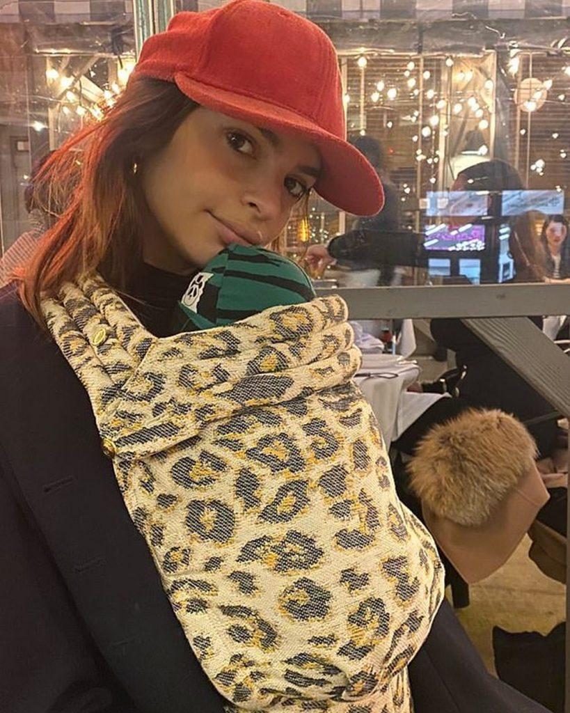 Emily Ratajkowski aka Emrata wearing Artipoppe Zeitgeist Baby Carrier Leopard Fusion